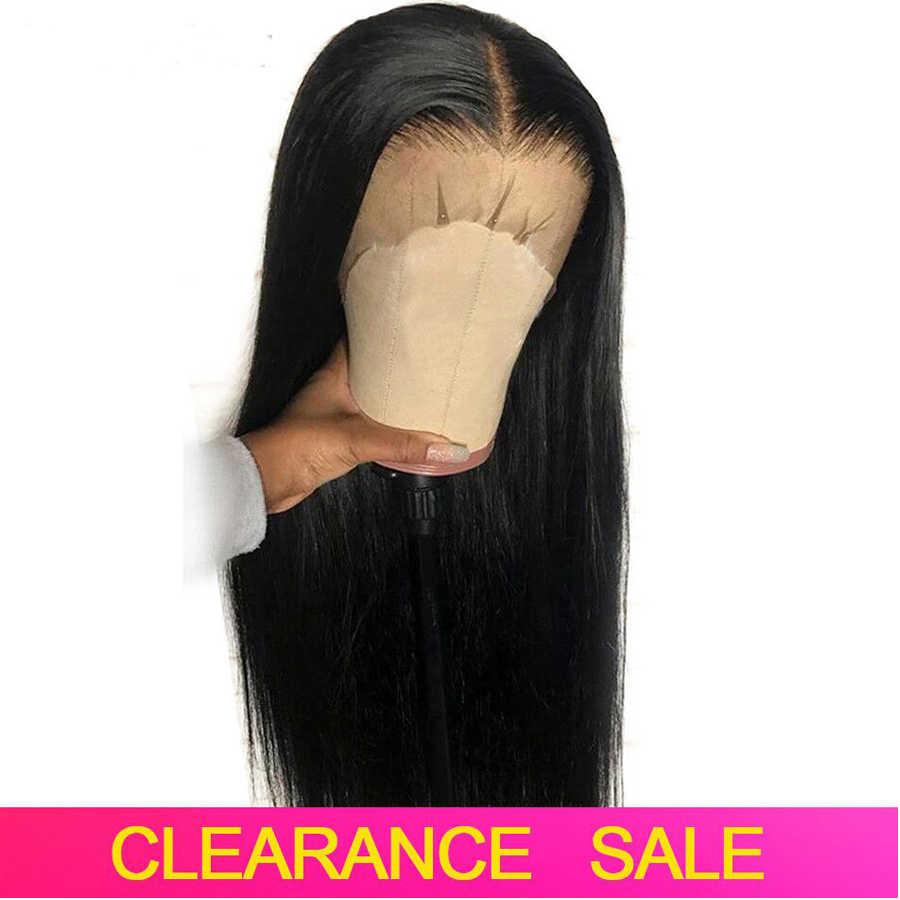 Düz dantel ön İnsan saç peruk siyah kadınlar için ön koparıp 150% yoğunluk 13x4 dantel ön peruk brezilyalı Remy saç peruk
