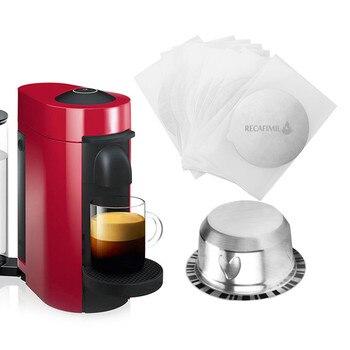 ل نسبرسو Vertuoline كبسولة القهوة جراب الفولاذ المقاوم للصدأ مرشحات القهوة المعدنية كوب مع أغطية مانعة للتسرب الألومنيوم