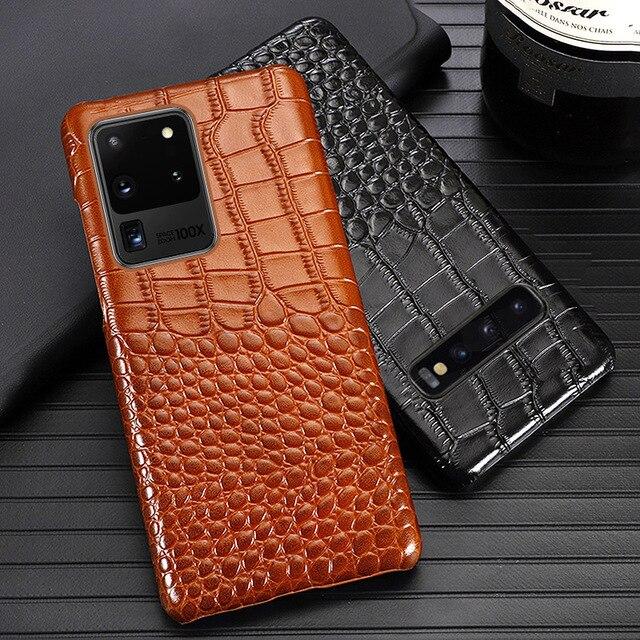 جلد حالة الهاتف لسامسونج S20 جدا S10 S10e S9 S8 S7 ملاحظة 8 9 10 لايت 20 A20 A30 A50 A51 A70 A71 A8 زائد التمساح غطاء