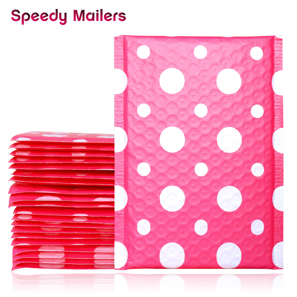 5PCS 150x200+40mm Pink Polka Dots Poly Bubble Mailers,Self Sealing Padded Mailing Envelopes,Polka Dots Design For Gift Packing