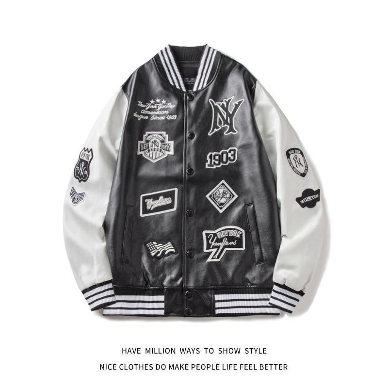 MLBNY Winter&Spring&Autumn Embroid Biker Motorcycle Leather Baseball Jacket Uniform Women's Coat Men's Jacket Bomber Unisex