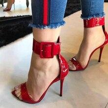 Pzilae sandálias femininas modernas de 2020, salto alto de couro envernizado, vermelho, com fivela no tornozelo, sexy, para mulheres sapatos com calçados