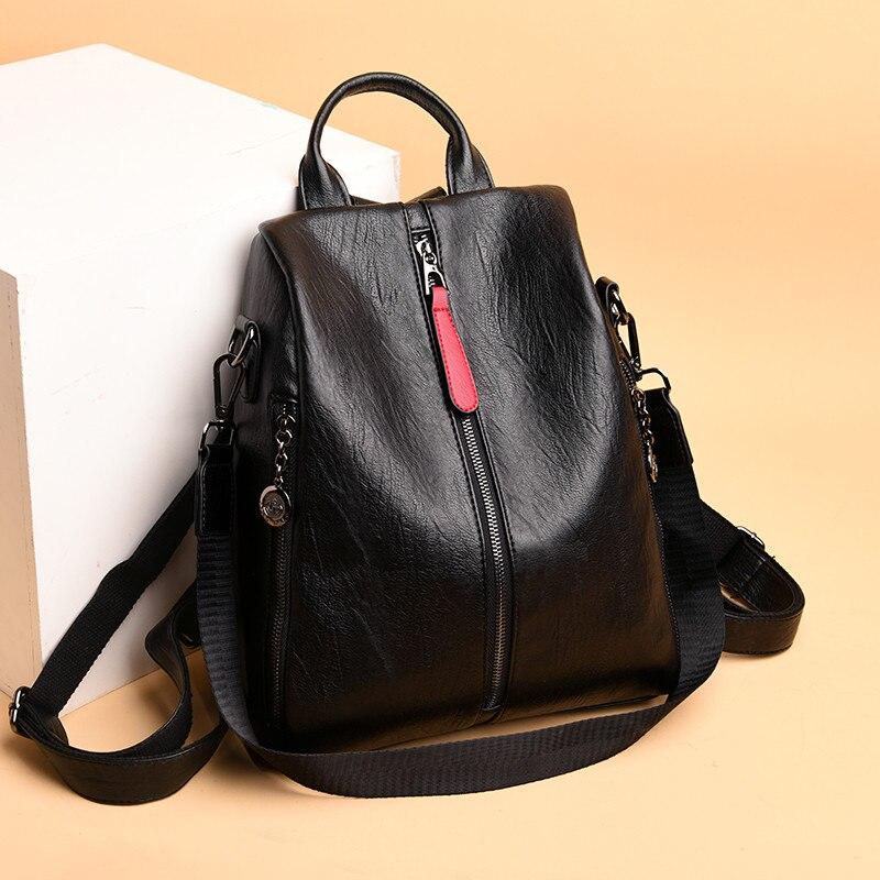 Casual Women Backpacks High Quality Durable Genuine Sheepskin Leather Anti Theft Female Packback Mochilas Ladies Travel Back Bag