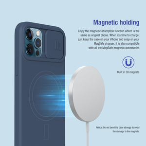 Image 3 - NILLKIN Magnetic Case For iPhone 12 Pro Max Liquid Silicone Soft Case Slide Camera Protect Privacy Back Cover for iPhone 12 Pro