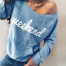 Women Casual Letter Print Top One-shoulder Pullovers Autumn Long Sleeve Sweatshirts Streetwear