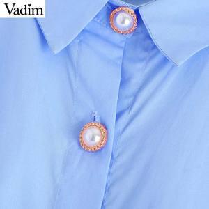 Image 4 - Vadim נשים אופנתי מוצק סדיר חולצות גדול ארוך שרוול חולצות נקבה מקרית loose ארוך סגנון חולצות blusas mujer LB760