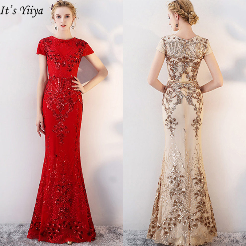 It's YiiYa Evening Dress O-Neck Plus Size Short Sleeve Women Party Dresses Sequin Mermaid Floor-Length Robe De Soiree TR013