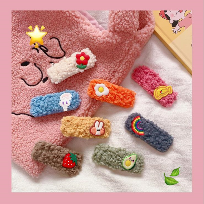 INS Candy Color Flower Color Plush Bb Clip Ins Net Red Girl Bangs Clip Cute Personality Side Clip Hairpin Hair Accessories