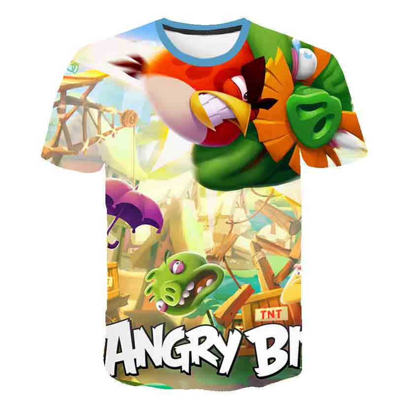 2020 new children 3D printed angry bird movie kids fashion casual round neck short sleeve T-shirt summer personality streetwear