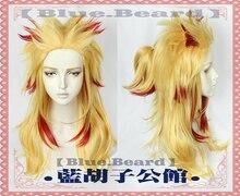 Anime Demon Slayer: Kimetsu No Yaiba Rengoku Kyoujurou Cosplay Wig Heat Resistant Synthetic Hair Wigs + Wig Cap