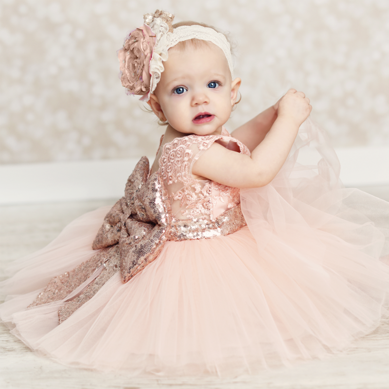 Cute Kids Toddler Baby Girls Dress Knot-Bow Sequins Tulle Princess Party Wedding Gown