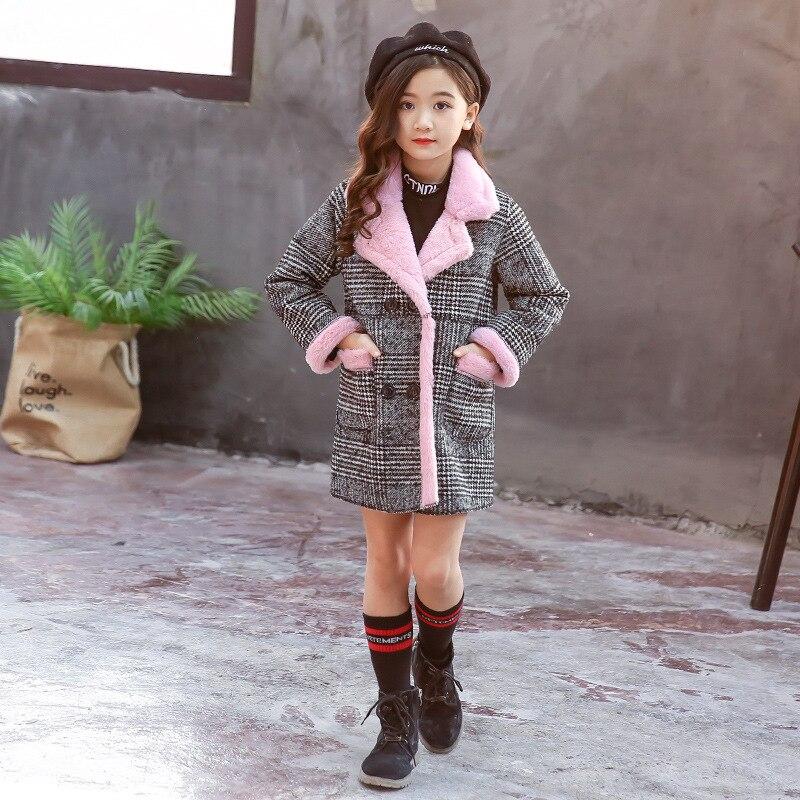 Image 4 - Girls Suede Coat Girls Long Warm Plaid Woolen Coat Heavy Weiht Kids Plus Velvet Thicken Overcoat Child Wadded Jacket-in Jackets & Coats from Mother & Kids