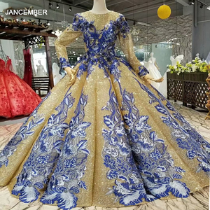 Image 1 - LS741100 shiny muslim women occasion dresses 2018 long sleeve o neck blue flowers golden ball gown evening dress fast shiping