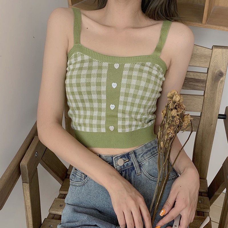 Women's Sexy Bottoming Crop Top Retro Sweet Plaid Pattern Knit Top Popular Camisole Cotton Slim Sexy Top
