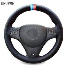 Рука сшитый черный искусственной кожи чехол рулевого колеса автомобиля для BMW M спортивные M3 E90 E91 E92 E93 E87 E81 E82 E88 X1 E84