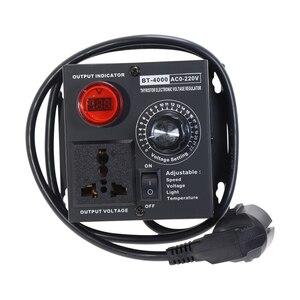 Image 5 - Ue wtyczka AC220V 4KW SCR regulowane napięcie ściemniacz światła temperatury silnika regulator prędkości wiatraka