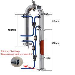 Entrega rusa, columna de destilación Tubular de 2 pulgadas, máquina de equipo de elaboración de alcohol casero con anillo de silicona de triple abrazadera de red de cobre