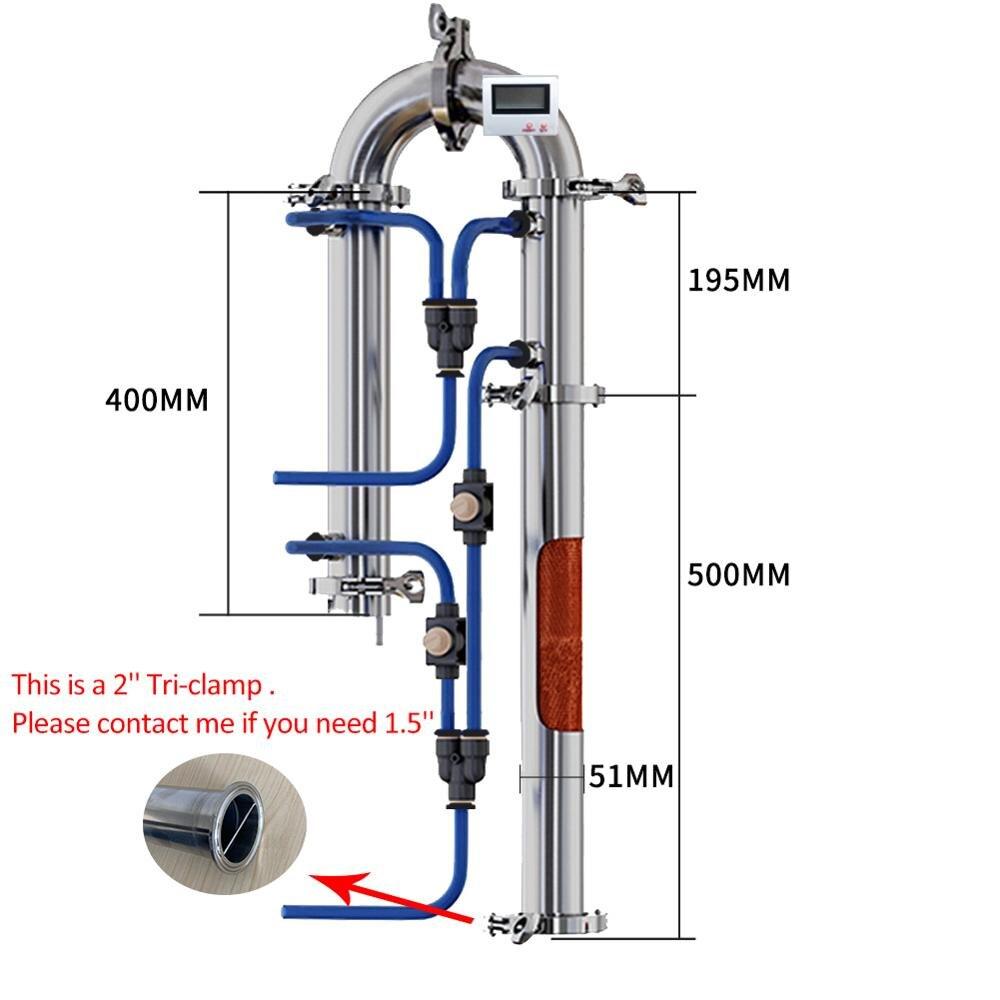 Rusia Pengiriman 2 ''Tubular Kolom Distilasi Rumah Pembuatan Bir Alkohol Mesin dengan Tembaga Net Tri Klem Cincin Silikon