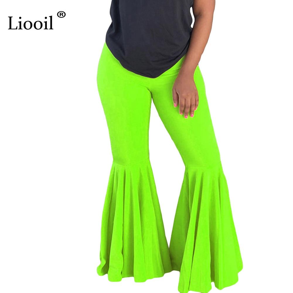 Liooil Neon Green Orange High Waist Flare Pants 2019 Autumn Sexy Tight Trousers Women Fall Elastic Club Bell Bottom Long Pant