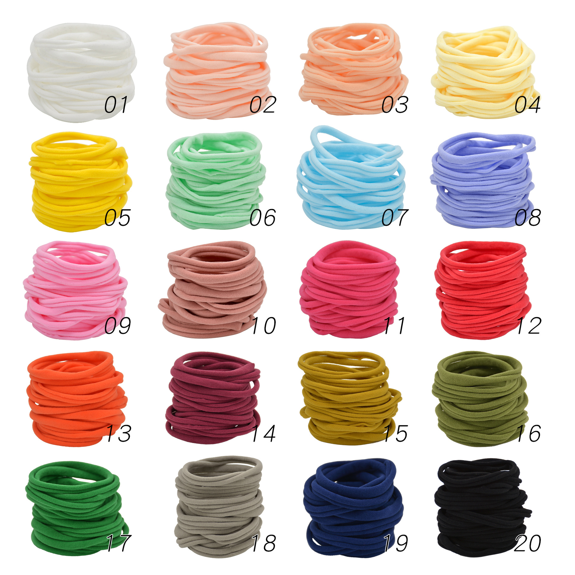 12pcs Nylon Elastic Seamless Hair Band Headband Soft DIY Headwear Baby Girl Boy Headbands Nude Hairbands Children Hair Circle