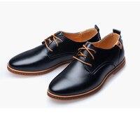 Men's Dress Shoes Leather Men Shoes Fashion boy Flats Round Toe Comfortable Office Men Casual Black,Brown wedding party 39 47