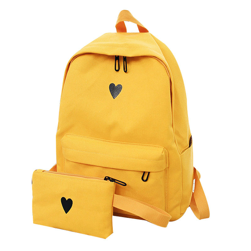 Wood High Quality Canvas Printed Heart Yellow Backpack Korean Style Students Travel Bag Girls School Bag Laptop Backpack