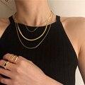 Цепочки Peri'sBox 3 шт./компл. Snakebone ожерелья широкие плоские многослойные ожерелья винтажные модные эффектные ожерелья для женщин ювелирные изд...
