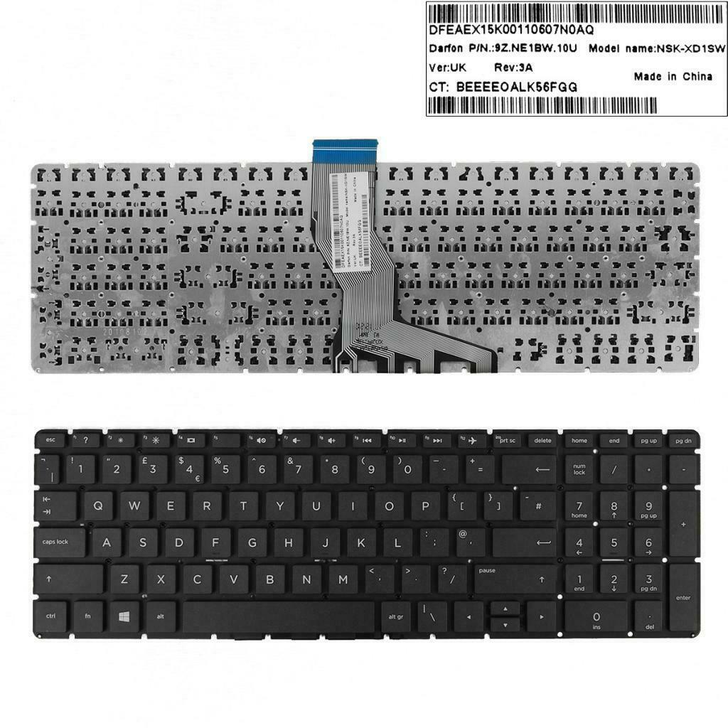 UK English Layout <font><b>Keyboard</b></font> for <font><b>HP</b></font> 15-BS <font><b>250</b></font> <font><b>G6</b></font> 255 <font><b>G6</b></font> 256 <font><b>G6</b></font> Laptop image