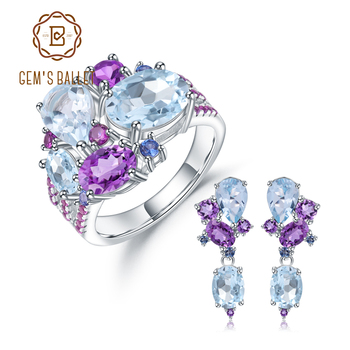 GEM'S BALLE Luxury Natural Topaz Amethyst Ring Earrings 925 Sterling Silver Colorful Candy Jewelry Set For Women Fine Jewelry