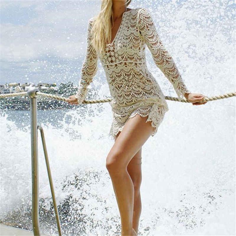 Crochê verão vestido de praia cobrir sexy oco para fora malha túnica maiô coverup mulheres praia sarong robe plage a33