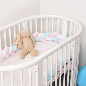 Newborn Baby Bed Bumper Pure Weaving Plush Knot Crib Bumper Kids Bed Baby Cot Protector Baby Room Decor 1M/2M/3M/4M Length