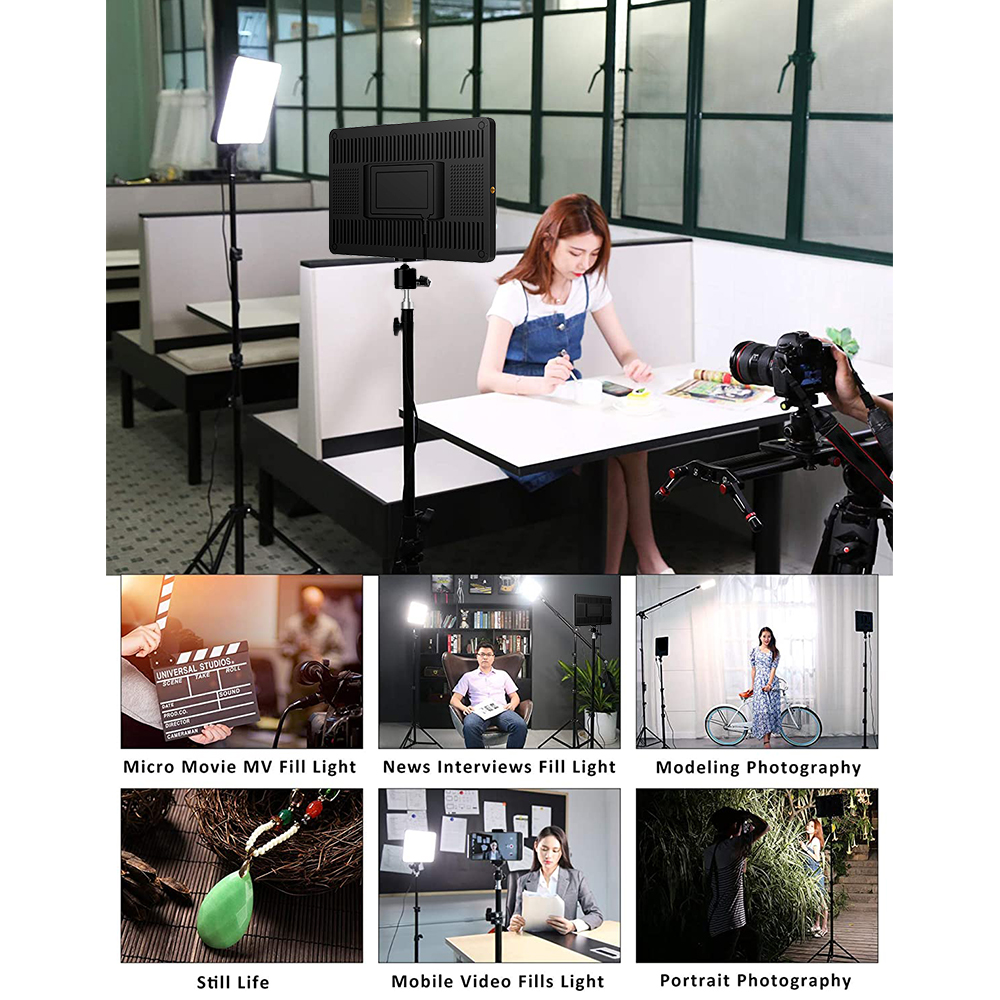 H88270a30a5fb4741b38cbe05f8e3bed7O LED Video Light With Professional Tripod Stand Remote Control Dimmable Panel Lighting Photo Studio Live Photography Fill-in Lamp