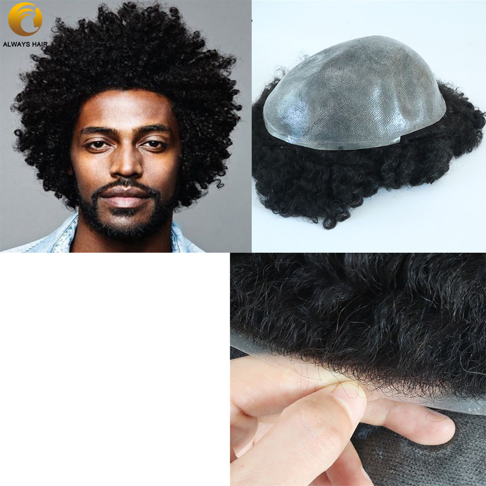 Mens Natural Afro Toupee Indian Human Hair Curl Toupee 10mm 6 Inch  Black Men's Toupee