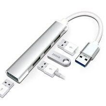 Nhà máy Bất Chính Mô Hình Mini Giữ Cáp 3.0 HUB Hợp Kim Nhôm Kéo 4 USB Đế cắm Cáp Seperater Tốc Độ Cao trần