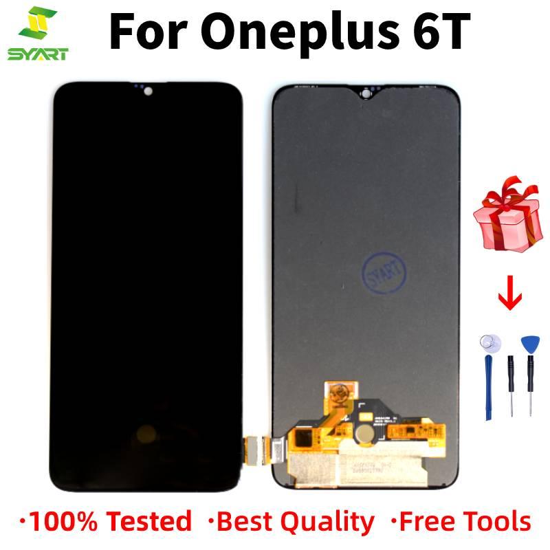 AMOLED для One Plus 6T 1 + 6T ЖК-кодирующий преобразователь сенсорного экрана в сборе для Oneplus6T дисплея с заменой рамы 1 + 6T 6,41