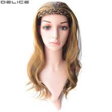 Delice 22 Womens Long Wavy Wig With Double Braids Headband Synthetic Ombre Cosplay Wigs
