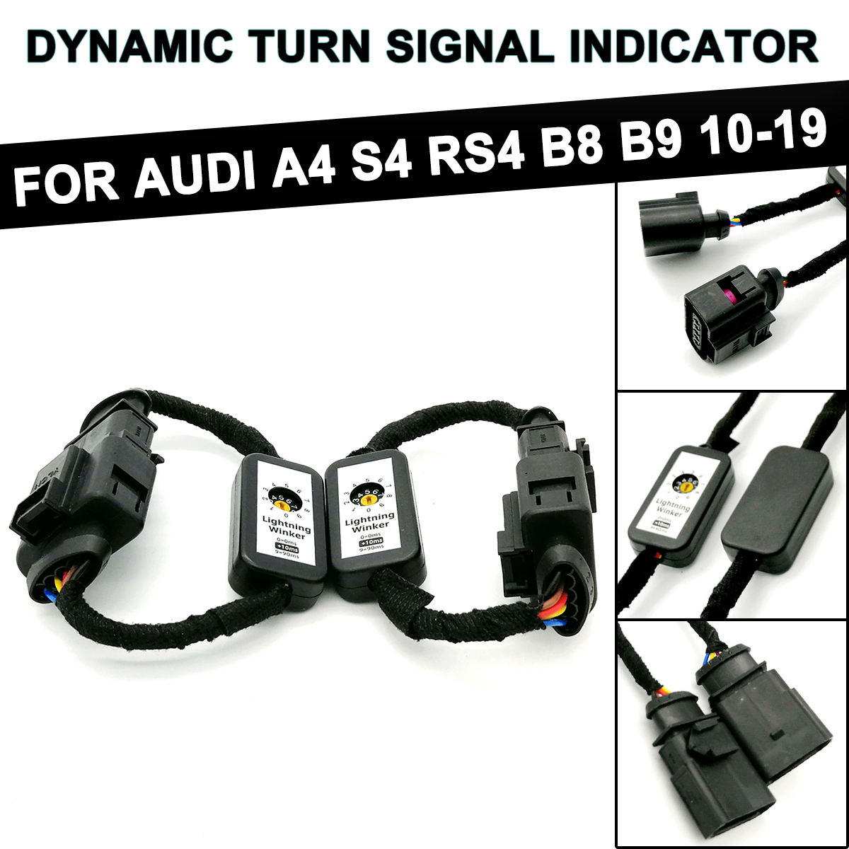 2pcs Dynamic Turn Signal LED Taillight For Audi A4 S4 RS4 B8 B9 2010-2019 Add-on Module Wire Indicator Left & Right Tail Light
