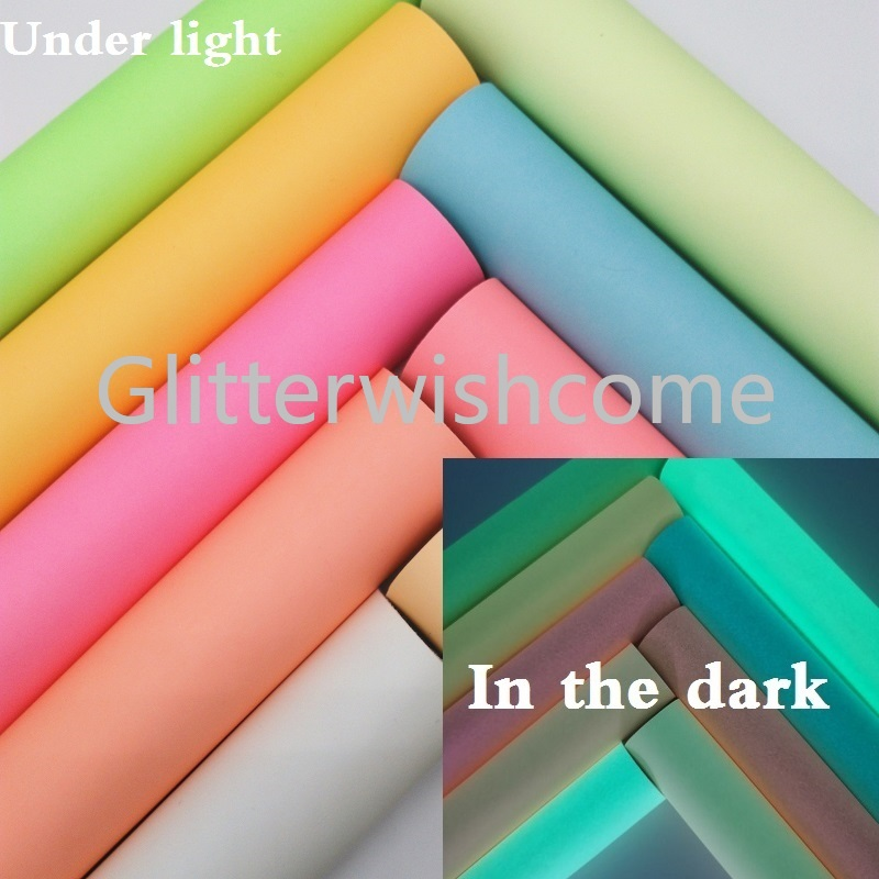 Glitterwishcome 21X29CM A4 Size Vinyl For Bows Glows In The Dark Leather Fabirc Faux Leather Sheets For Bows, GM377B