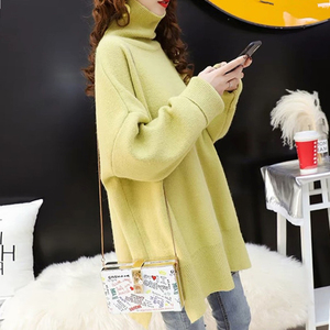 Image 4 - CHICEVER Korean Knitted Sweater Women Turtleneck Lantern Long Sleeve Oversize Pullover Sweaters Female 2020 Autumn Fashion New