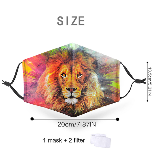 Animal 3D Print Masks Reusable Protective PM2.5 Filter Mouth-Muffle Washable anti dust Face Adult Mask Bacteria Proof Flu Mask 1