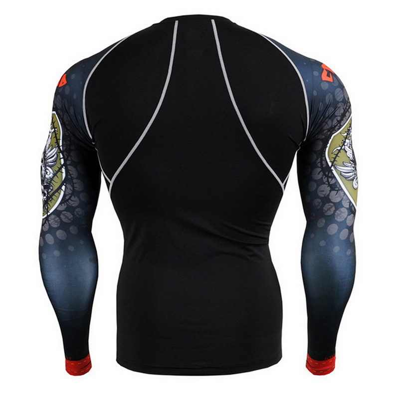 Camisa de corrida de secagem rápida do esporte do halterofilismo camisa de compressão de manga longa