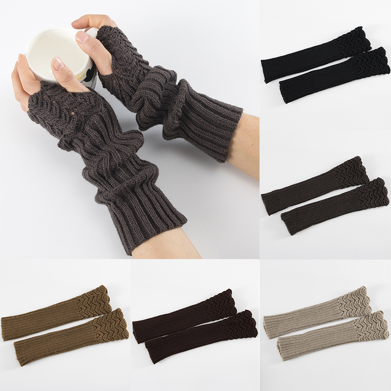 Winter Knitting Half Finger Mittens Gloves Fish Scales Pattern Warm Men Women Arm Set Arm Sleeve Cover Wrist Sleeve Holder Cuffs