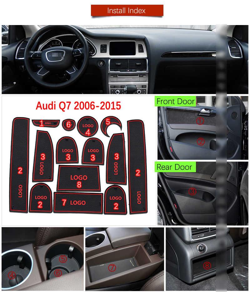 Tappetini Anti Scivolo Per Audi Q7 4L 2006 - 2015 S-Line Logo Fessura del Cancello Montagne Anti-sporco Porta Scanalatura mat Interni Auto