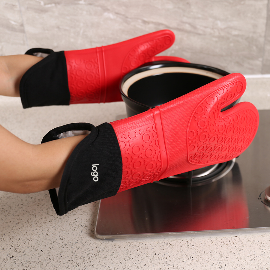 Thick High-temperature Resistant Insulated Anti-hot Gloves Oblique Adjustable Large Size Plus Cotton Waterproof Microwave Oven S