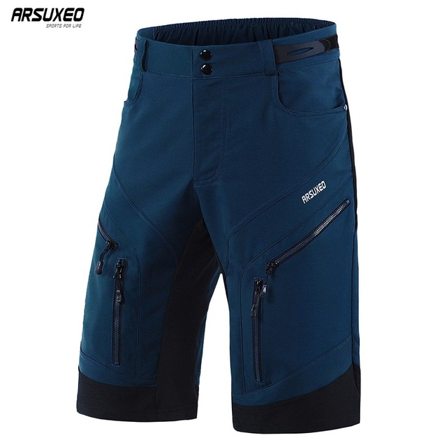 ARSUXEO Mens Cycling Shorts Loose Fit Downhill MTB Mountain Bike Shorts Outdoor Sport Bicycle Short Pants Water Repellent 1903