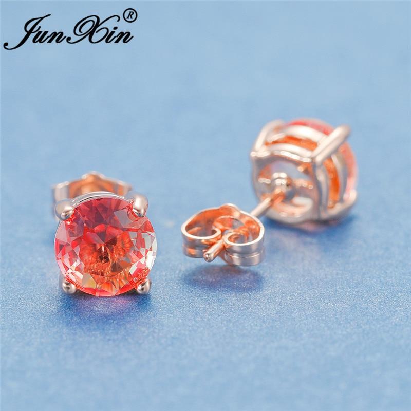 Cute Pink Yellow Rainbow Crystal Round Stud Earrings For Women Rose Gold Mystic Fire Zircon Wedding Earrings Female Jewelry CZ
