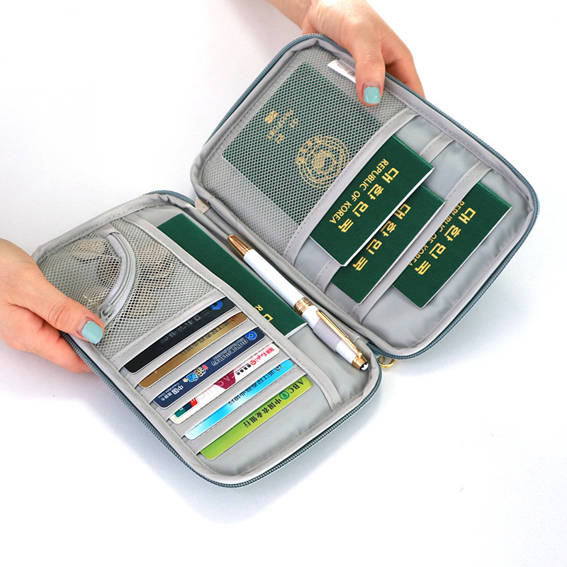 Travel Abroad Passport Package Multi-function Document Package Ticket Clip Money Card Storage Zipper Credit Card Business Card