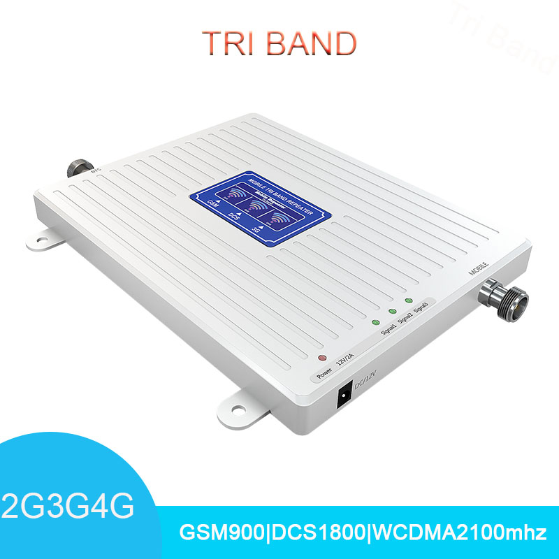 LCD Display Signal Booster Tri Band  900 1800 2100 GSM DCS WCDMA UMTS LTE Mobile Signal Amplifier Repeater Amplifier 70dB Gain
