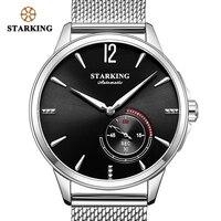STARKING механические часы из нержавеющей стали черные мужские автоматические сетчатые наручные часы 5 бар водонепроницаемые часы