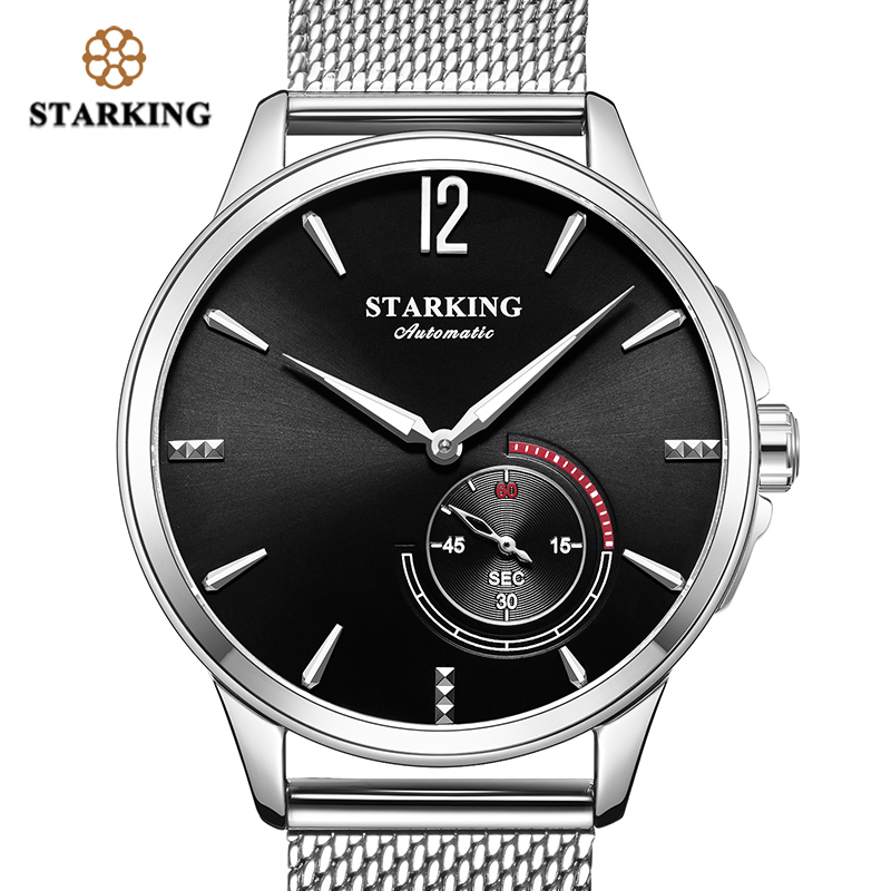 <font><b>STARKING</b></font> Stainless Steel Mechanical Watch Black Men <font><b>Automatic</b></font> Mesh Band Male WristWatch 5Bar Water Resistant Relogio Masculino image